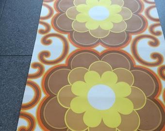 9m vintage 1970s wallpaper orange, brown & yellow geometric floral print