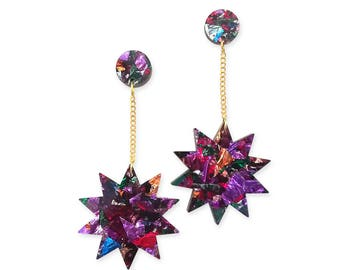 Acrylic Perspex Colorful Retro Statement Earrings - Star Sun Space Kaleidoscope Sparkle Glitter Metallic 80s 70s 80's 70's Purple Long