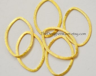 One Brushed 18kt Gold Vermeil Large Marquis Hoop 26 x 17mm