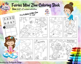 Fairies | Mini Coloring Book | Mini Zine | Coloring Zine | Fairies Activity Page | Fairies Coloring | Fairies Party | Party Printable | Zine