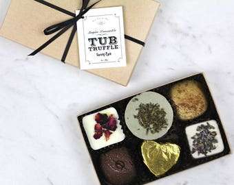 Tub Truffles ~ variety gift set with 6 bath truffles / bath fizzie / bath bomb