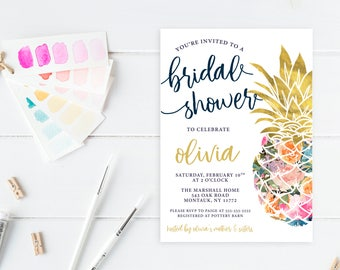 Bridal Shower Invitation, Bridal Shower Invite, Pineapple Bridal Shower Invitation, Floral Bridal Shower Invitation, Bridal Shower [733]
