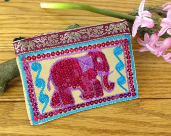SALE - Thai Embroidered Pink Elephant Coin Purse