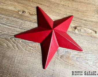 """RED - Handpainted Distressed Cast Iron Texas Star Wall Hanging - 7.5"""" Metal Star Wall Decor - Patriotic Nautical Rustic Country Home Decor"""