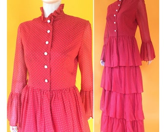 Vintage 1970s red white polka dot maxi dress ruffle sleeves tiered ruffle maxi skirt ruffle collar size medium 8 10