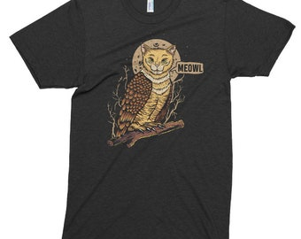 Cat Owl Tshirt, Printed On American Apparel, Tri-Blend, Meowl T Shirt, Catowl Hybrid Animal, Funny Tee, Mens Womens