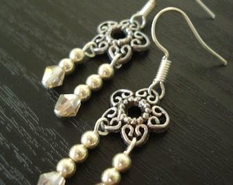 Filigree Flower Earrings, Silver Filigree Earrings, 2 Dangle Earrings, Crystal Earrings, Silver Bead Earrings, Silver Earrings, Filigree