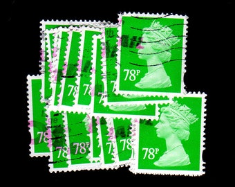 25 used Emerald G.B. Postage Stamps
