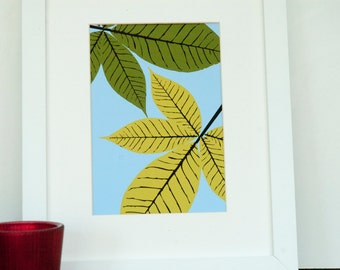 Autumn Leaves - Horse Chestnut, fine art print, yellow, fall leaves, autumn, colors, illustration, fall season, harvest