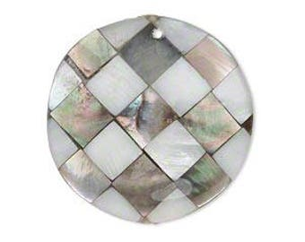 Black Lip Shell and Mother of Pearl Mosaic Double Sided Round Pendant 30mm 1 pc