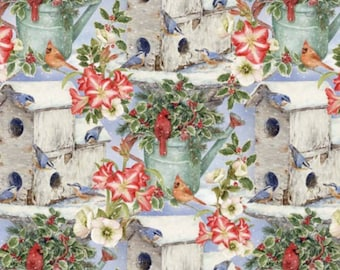Bird House and Watering Can Fabric From David Textiles