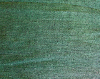 Vintage Green and Black Woven Cotton Fabric with Nubby Texture 5 Yards