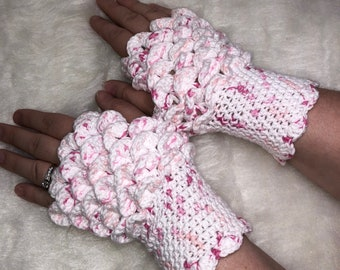 Dragon Scale Fingerless Gloves - White and Pink