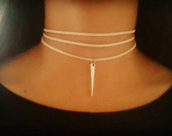 Trendy Triple Wrap Choker Necklace with Spike Charm - Choose your cord colour