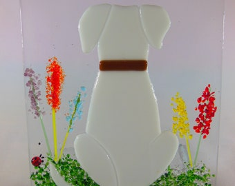 Dog made in fused glass. Bespoke item. 'your' dogs likeness in glass. Beautiful original gift idea