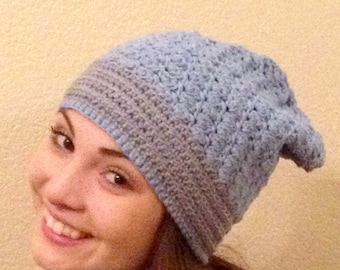 ALL COTTON Blue Slouchy Hat  Gift Crocheted Adult Teen Ready To SHIP One-Of-A-Kind Comfortable Lightweight Year Round