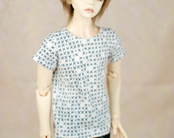 BJD Clothes White And Blue Cross T Shirt For Super Gem SD 17