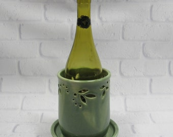 Ceramic Wine Chiller - Bottle Cooler - Green Wine Chiller - Tabletop Wine Holder - Ice Bucket - Flower Vase - Countertop Utensil Holder