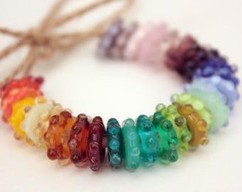 30 Lampwork Spinner Ring Beads
