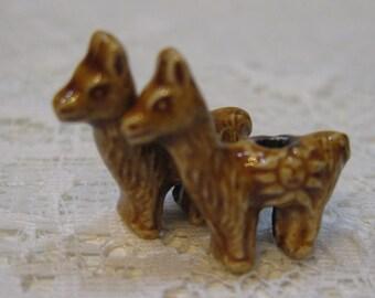 Llama Beads Brown Peruvian Ceramic Large Hole Llama Beads Alpaca 22x20x10mm 2 beads