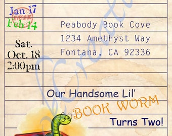 Library Card/Book theme birthday invitation *Printable Digital file*