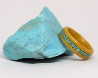 Wood Ring, Yellow Piquia Marfim wood wedding band or wooden ring with blue Turquoise stone inlay