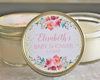 Girl Baby Shower Favor/ Set of 12 - 4 oz Candle Favors/ Gold Favor/ Floral Favor/ Baby Girl Shower // Soy Candle Favor
