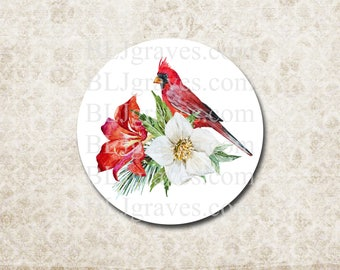 Christmas Stickers Bird Red Cardinal Envelope Seals Party Favor Treat Bag Stickers CS011