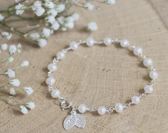 Personalised bridal bracelet, bridal jewellery, wedding bracelet, freshwater pearl, sterling silver, bride, groom, wedding jewellery, leaf