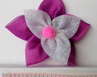 Hair Clip Purple and White Fabric Flower Kanzashi Holographic