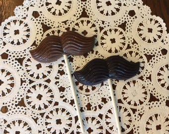 MUSTACHE CHOCOLATE LOLLIPOPS(12 qty) - Little Man Birthday/Mustache Favor/Bachelor Party/Baby Shower Favor/Wedding Favor/Baby Boy Reveal/