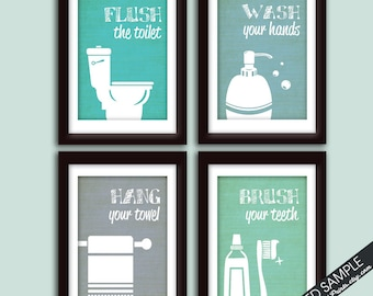 Funny Bathroom Prints - Art Print (Featured in Brushed Steel Color K, P,