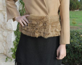 One-of-a-kind Chic Beige Jacket with Rabbit Fur Trim