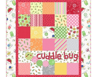 Cuddle Bug Flannel Quilt Kit Pink and Red - Lil' Sprout Flannel Too! - Baby Girl Quilt Kit by Maywood Studio