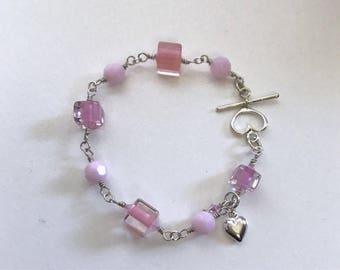 Pink Crush Collection #2 Ice Candy Cane Glass Beads Bracelet