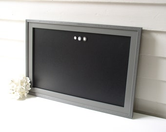 "Elegant Magnetic Chalkboard - Furniture Grade Bulletin Board with Handmade Hardwood Frame 15 x 22"" in Charcoal Gray - Mens Office"