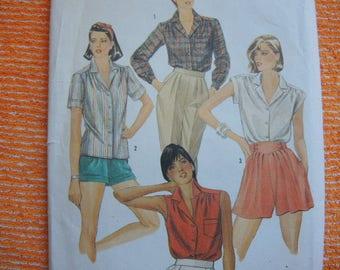 vintage 1980s Simplicity sewing pattern 6358 UNCUT misses set of shirts size 18-20