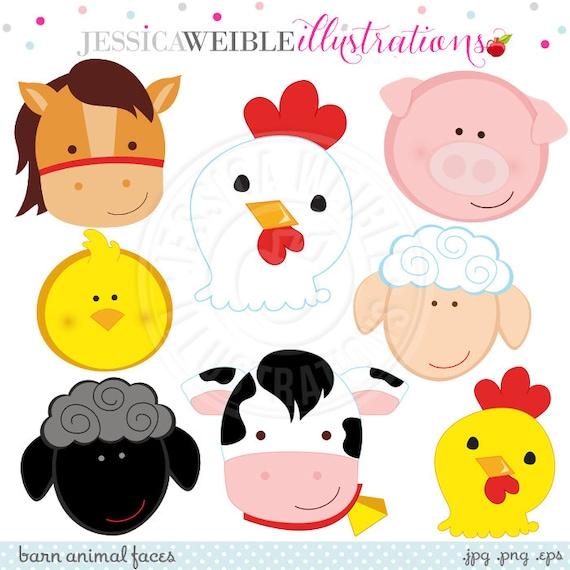 barn animal faces cute digital clipart commercial use ok farm rh etsystudio com farm animal clip art free farm animal clip art pictures