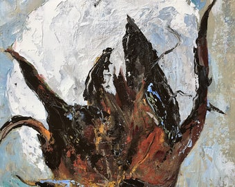 Cotton Bole/11x14/Original Acrylic Painting/Impressionism/small/blue/white/brown/