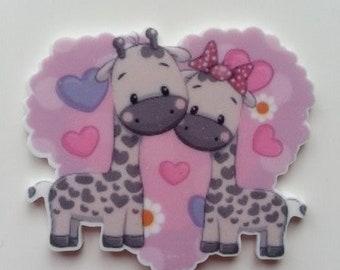 cabochon plat en résine coeur rose couple  girafe  45*40mm