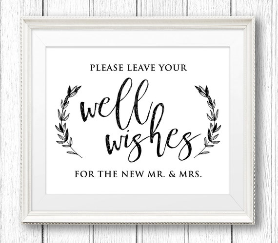 Wedding Well Wishes Sign, Advice Card, Printable, Rustic Wedding Reception Sign, Kraft Paper, Instant Download, Digital PDF, 8x10 #SW27
