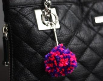 Bag Charm, Pink and Purple Bag Charm, Mini Yarn Pom Pom, Bag Pompom, Purse Charm, Purse Pom Pom, Handbag Accessory, Pom Pom Keychain Keyring