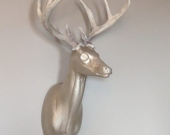 Gold Deer Head with REAL antlers!!