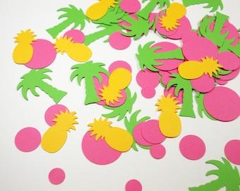 Luau Party Decoration, Pineapple Confetti, Palm/Palmetto Tree Confetti, Tropical Table Decor, 100 CT., Ships in 2-3 Business Days