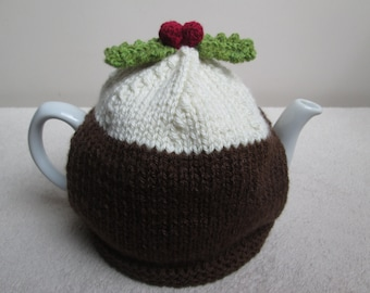 Hand Knitted Christmas Pudding Figgy Pudding Tea Cosy Medium 5-6 Cups ~  Ready To Ship