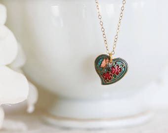 Cloisonne Necklace Colorful Heart Pendant  Heart Necklace Tiny Heart Necklace OOAK