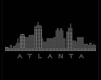 Atlanta Georgia City Skyline State Love Rhinestone Iron On Transfer Hotfix Bling