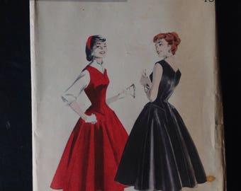 Vintage 1950's Dress Pattern, Vintage Butterick Pattern 7485, Vintage Butterick Dress Pattern Uncut, vintage Dress Pattern Size 16