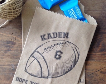 Boys Birthday Favors - Birthday Favor Bags - Vintage Football Birthday Candy Buffet Birthday Party Favor Bag - Set of 25