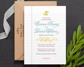 Retro Wedding Invitation / 'School Notebook' with Library Card Fun Wedding Invite / Blue Yellow Pink / Custom Colours Available / ONE SAMPLE